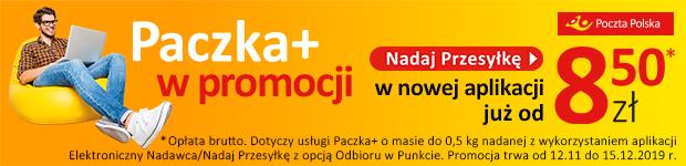 Paczka+ w promocji w nowej aplikacji już od 8,50 zł. www.poczta-polska.pl/nadaj